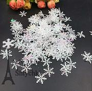 Снежинки белый перламутр, декор к Новому году Хмельницький