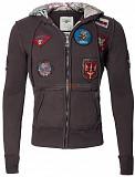 Реглан Top Gun Zip-Up Military Patched Hoodie (коричневый) Київ