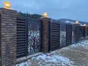 Відкатні ворота з декоративною вставкою Берегове