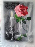 """Картина вышитая бисером """"Роза и свеча"""" Прилуки"""