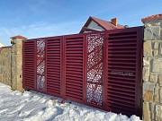 Ворота відкатні з декоративною вставкою Мукачево