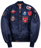 Бомбер Top Gun MA-1 Nylon Bomber Jacket with Patches (синий) Львів