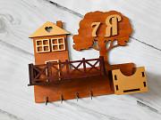 Ключница Деревце с балконом и ящиком. Вишневе