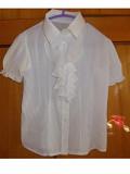 Блузка Рубашка детская на 6-9лет шелк белая Полтава