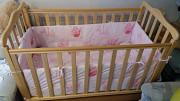 Детская кроватка-маятник «СОНЯ» с ящиком, цвет бук Київ