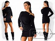 Тёплое платье женское. Ангоровое платье на одно плечо. Чёрное. 46-48 Київ