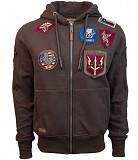 Реглан Top Gun Men's zip up hoodie with patches (коричневый) Київ