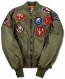 Бомбер Top Gun MA-1 Nylon Bomber Jacket with Patches (оливковый) Київ