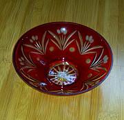 Ваза двухцветный резной хрусталь, Цветное стекло СССР, Красная Миколаїв