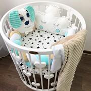 Комплект бортиков в круглую кроватку, бортики для новорожденных и деток Харків