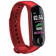Фитнес-браслет Adenki M3 с пульсометром, мониторинг сна и кислорода в крови, давление, Красный (30-7