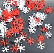 Снежинки белые и красные, декор к Новому году Хмельницький