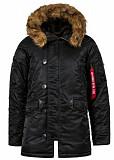 Куртка аляска Slim Fit N-3B Parka Alpha Industries, США (черная с коричневым мехом) Житомир